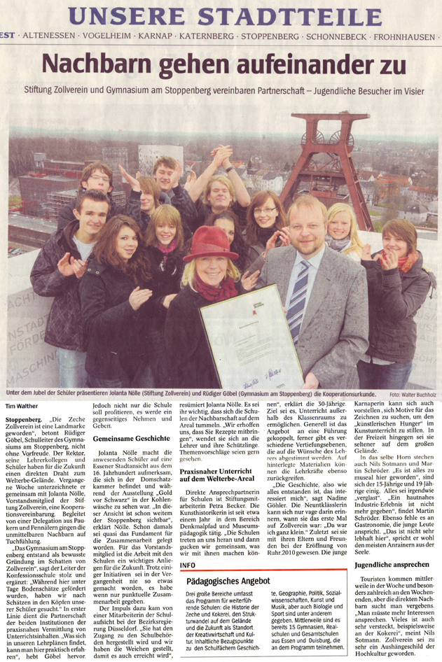 Kooperation mit Zollverein in der Presse